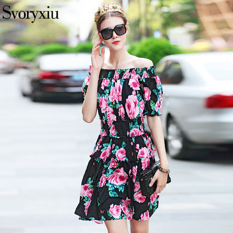 Svoryxiu Summer Fashion Sexy Off Shoulder Dress women s Romantic Rose Print Runway Casual Mini Dress