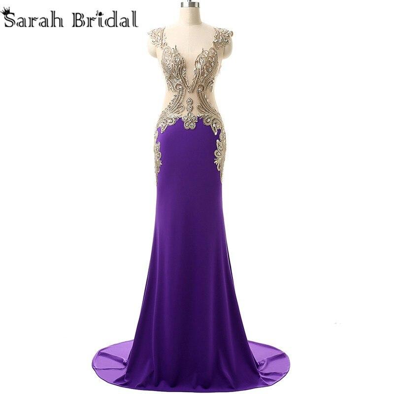 14fec225 Sexy Illusion Back Royal Blue sirena vestidos de baile cristalino de ...