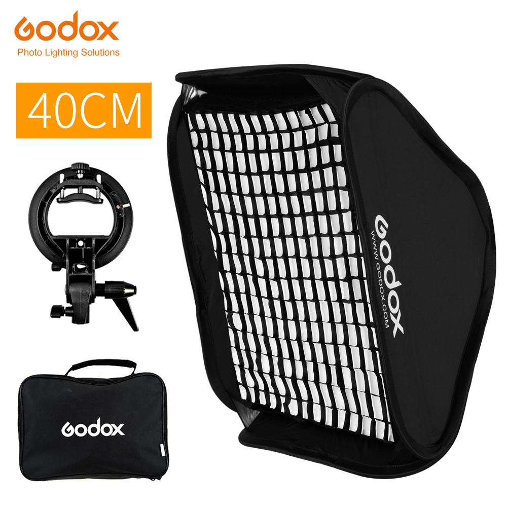 Godox Ajustable Flash Softbox 40 x 40cm with Bowens Mount S type Bracket Honeycomb Grid Kit