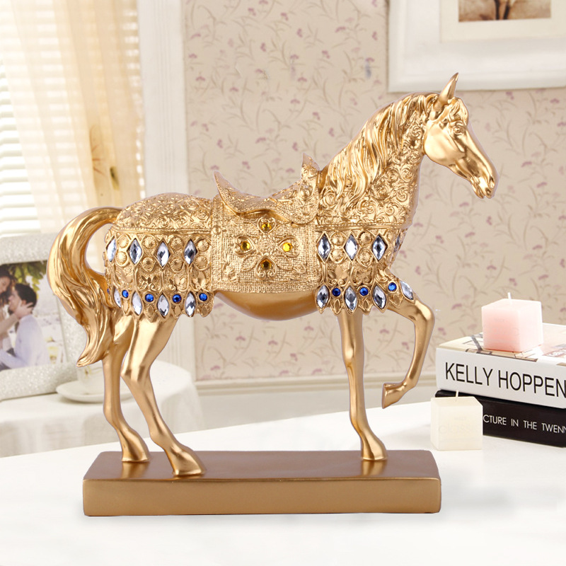 wedding Decoration Resin Crafts European Antique Silver Horses Home Furnishing Decoration Creative Gift Wine Decorations