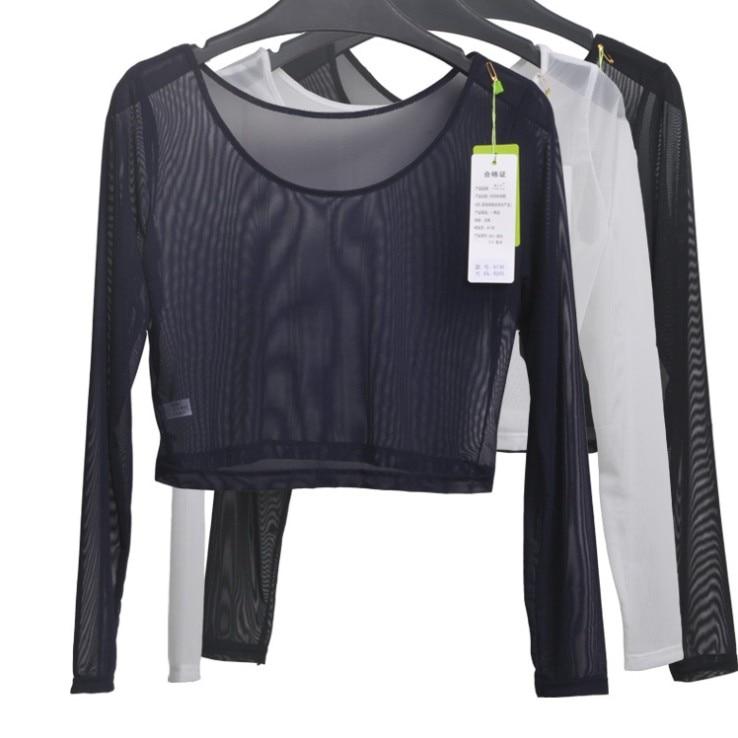 Top sexy delle donne della maglia del semitrasparente sottile della maglietta delle magliette della maglietta del manicotto della parte superiore della maglietta manica lunga per la femmina