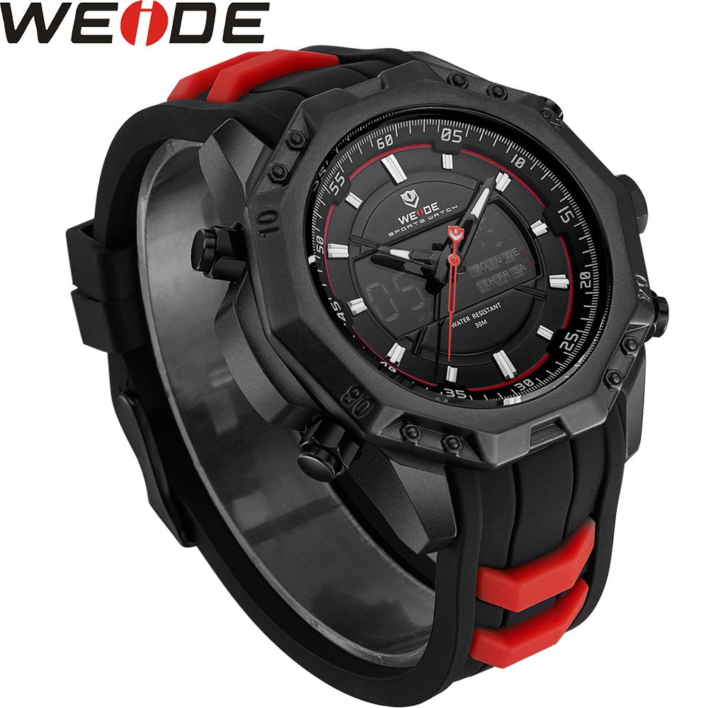 WEIDE Mens Quartz Watches Top Brand Luxury Alarm Clock Schocker Waterproof Sport Wristwatch Analog Digital LCD Automatic Watch ots top brand luxury analog digital digital drive analog waterproof alarm watch men quartz wristwatch sport military 8007