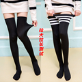 2017 new fashion knee high socks calf support comfy relief black cotton leg warmers students black