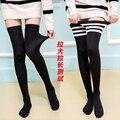 2017 nueva moda de la rodilla alta calcetines calentadores de la pierna del becerro apoyo cómodas relief negro estudiantes negro