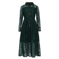 Sisjuly Women S Vintage Dress 2018 New Spring Solid Long Sleeve Lapel Hollow Patchwork Lace Mid