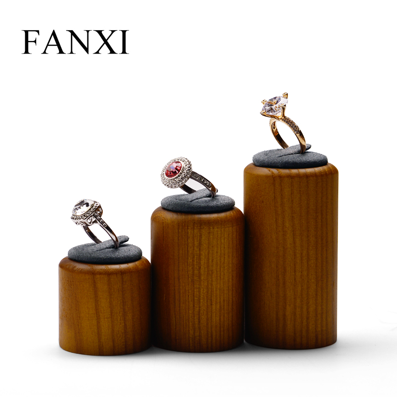 FANXI 3 Piece/Set Jewelry Display Set Round Ring Holder Solid Wood Jewelry Support Decoration Jewelry Stand Showcase