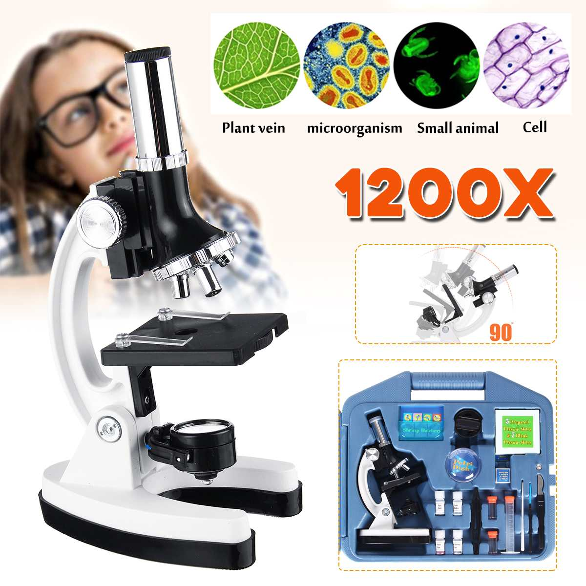 Zeast 300/600/1200X Student's Microscope Kit Lab LED Home School Educational Toy Gift Biological Microscope For Kids Tools Set