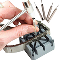 6Pcs Watch Repair Band Link Remover Tool Kit + Hammer Punch Pins Watch Strap Holder