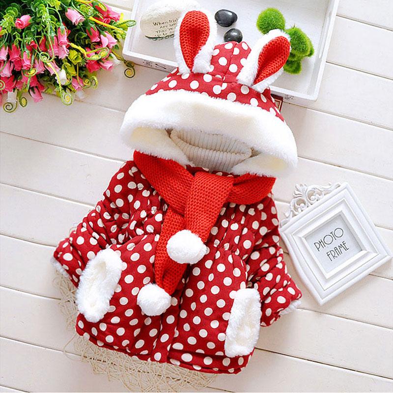2015 Winter Baby Katoen Gevoerde Kleding Kerstmis Uitloper Jacket Parka Voor Pasgeboren Baby Baby Meisjes Kleding Bovenkleding Jassen