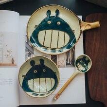 Totoro Hand-painted Ceramic Rice Bowl Set Cutlery Creative Japanese Cartoon Mug Dish Spoons Tableware Dishes and Plates Gift