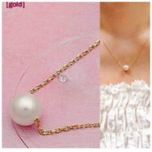 Ocean white pearl ball pendant long necklace New circles simulated women black chain necklace fashion jewelry wholesale gift x3(China)