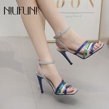 Fashion Stiletto Womens Summer Footwear Sandals 2019 New Arrival Multi-color Square Head High Heels Buckle Casual Ladies Shoes
