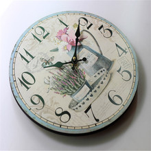 12 Inch Thicken Board Wood Wall Clock Europe Style Flower Colored Drawing Digital Electric Clocks for Cafe Christmas Gift
