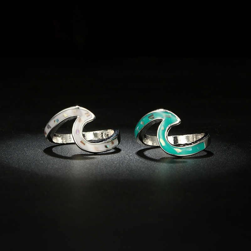 Bijoux de mode d'été argent Knuckle océan bleu feu opale vague anneaux pour femmes hommes bague de mariage Bijoux Acero inoxydable Joyeria
