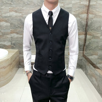 High Quality Black Vest Men Business Formal Wear Dress Vests Slim Fit Casual V Neck Waistcoats Sleeveless Solid Wedding Tuxedo