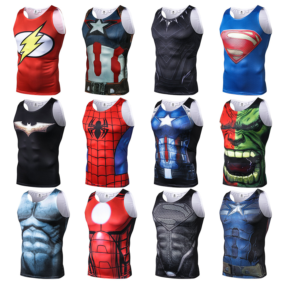 2019 New Summer Hulk Spiderman Superman Batman Printed Bodybuilding Workout Unisex Fitness   Tank     Tops   Vest Men Sleeveless Tees