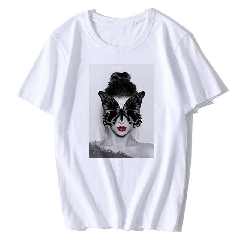 BTFCL 2019 Vintage Fashion T shirt Women Sexy Flower Feather Short Sleeve Aesthetics Art Oil Painting Printed plus size Tshirts