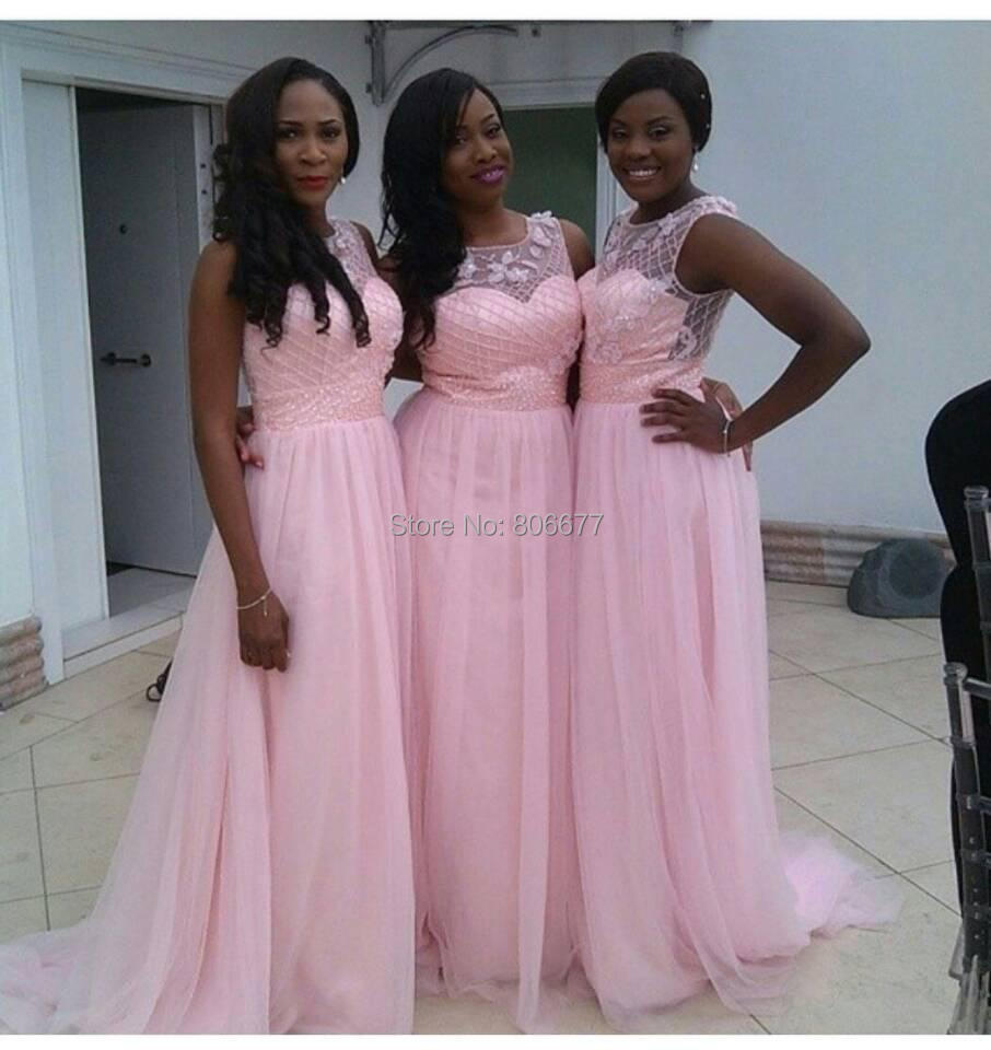 South Africa Pink Long Bridesmaid Dress 2015 Summer Fall Beach ...