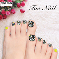2016 Hot Sale French Toe Nail Classical Style Flower Nail Stickers Tips Unha Postica Artificial Nails Faux Ongles Avec Colle