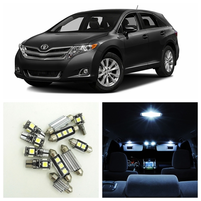 13Pcs Super Bright White LED Auto Bulbs Interior Package Kit For 2009 2015 Toyota  Venza