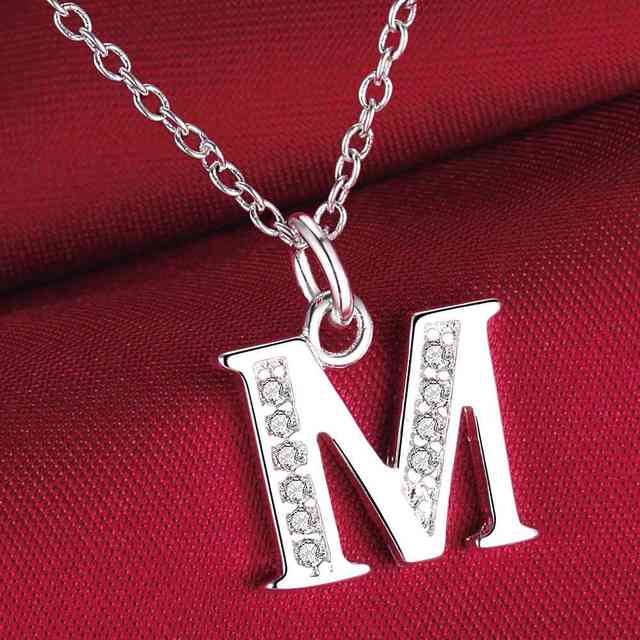 fashion letter M silver plated Necklace New Sale silver necklaces ...