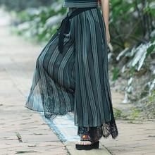 2018 Women Chiffon Elastic Waist Wide Leg Pants Spring Summer Bow Tie Waist Loose Lace Patchwork Pants Trousers Pantalones tie waist wide leg pants