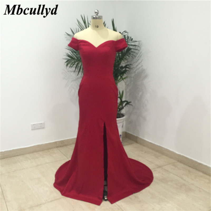 Mbcullyd Sexy Split Mermaid   Bridesmaid     Dresses   2019 Formal Long Sweep Train Prom   Dress   Cheap Under 100 Vestidos de fiesta