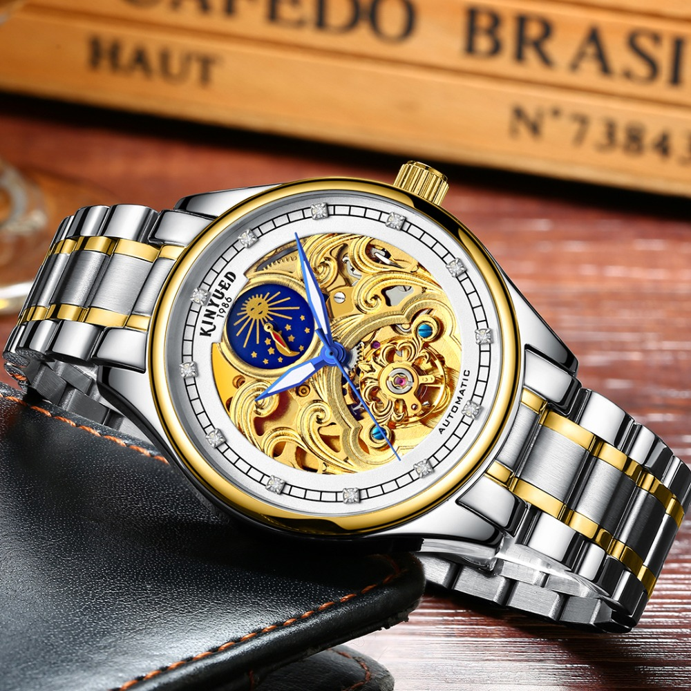 KINYUED Fashion Mens Mechanical Watch Brand Automatic Waterproof Skeleton Watches Men Gold Moon Phase Diamond reloj hombre 2019 1