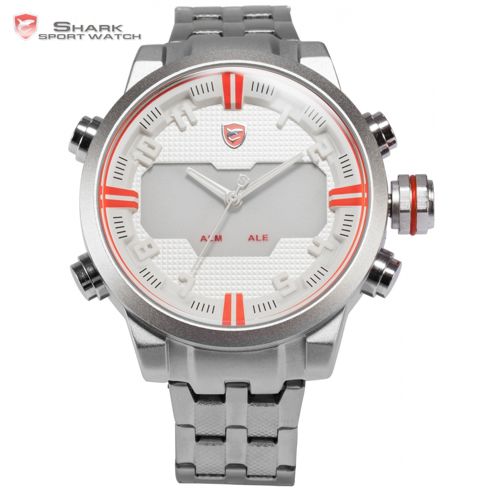 Sawback Angel SHARK Sport Watch Dual Time LED Full Steel Strap Digital Relogio White Alarm Quartz Outdoor Mens Wristwatch /SH200