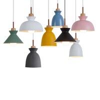 Nordic Modern Wood pendant lights, 110/220V E27 woodwork aluminium 7 colour lampshade, household decorative home lighting