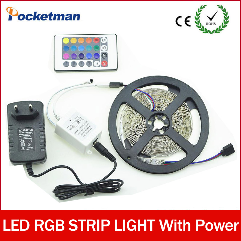 Zk50 RGB LED Strip 5M 300Led 3528 SMD IR Remote Controller 12V 2A Power Adapter Flexible Light Led Tape Home Decoration Lamp