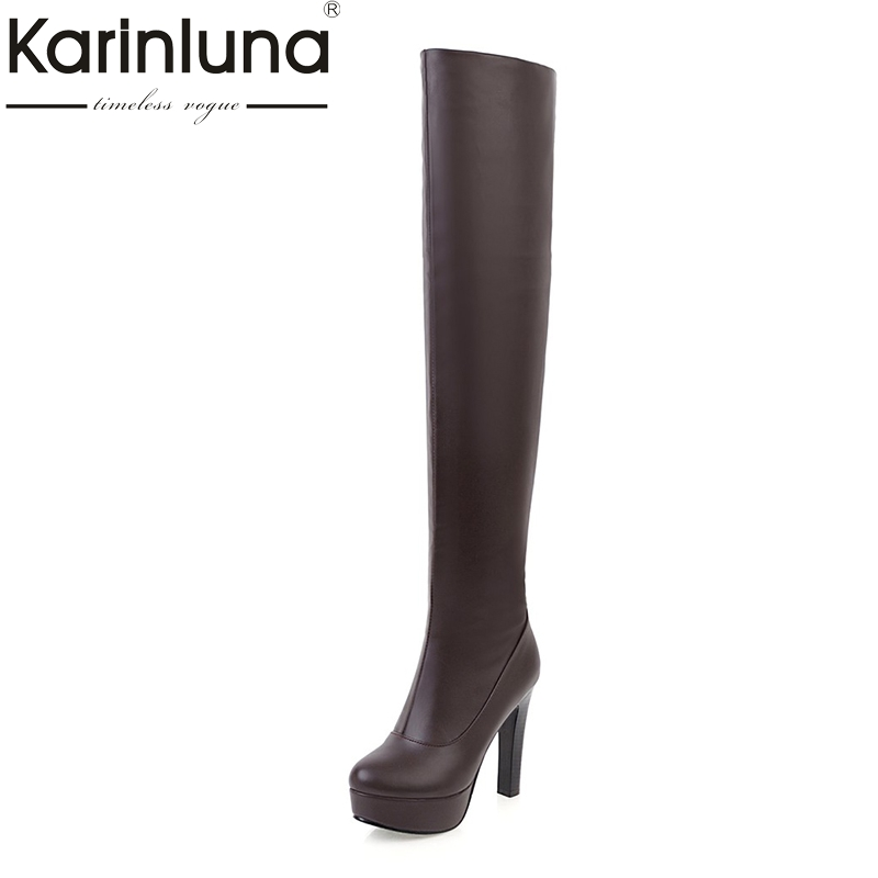 KARINLUNA  2017 Big Size 34-43 platform long Boots Fashion high heels Women Shoes woman sexy Add Fur Winter party date Boots big size 34 43 high heels ankle boots for women 2016 man made leather fur inside fashion knight sexy woman winter shoes
