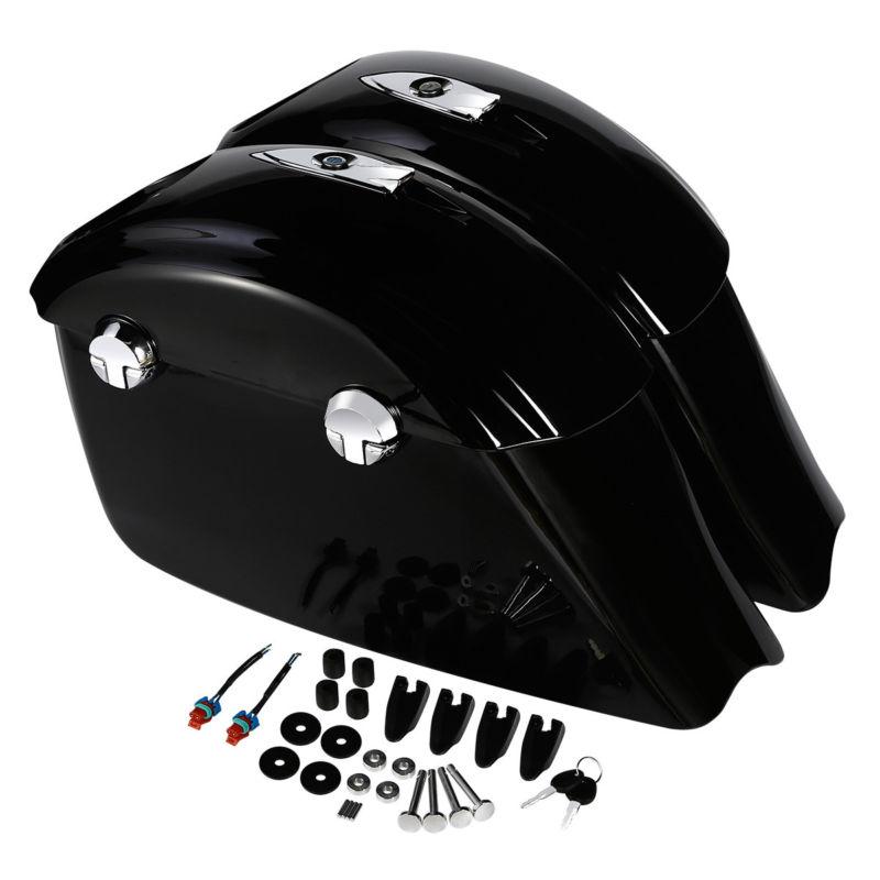 Sac de selle noir brillant moto loquet électronique Concert Audio couvercle pour chef indien Elite cheval noir Roadmaster classique