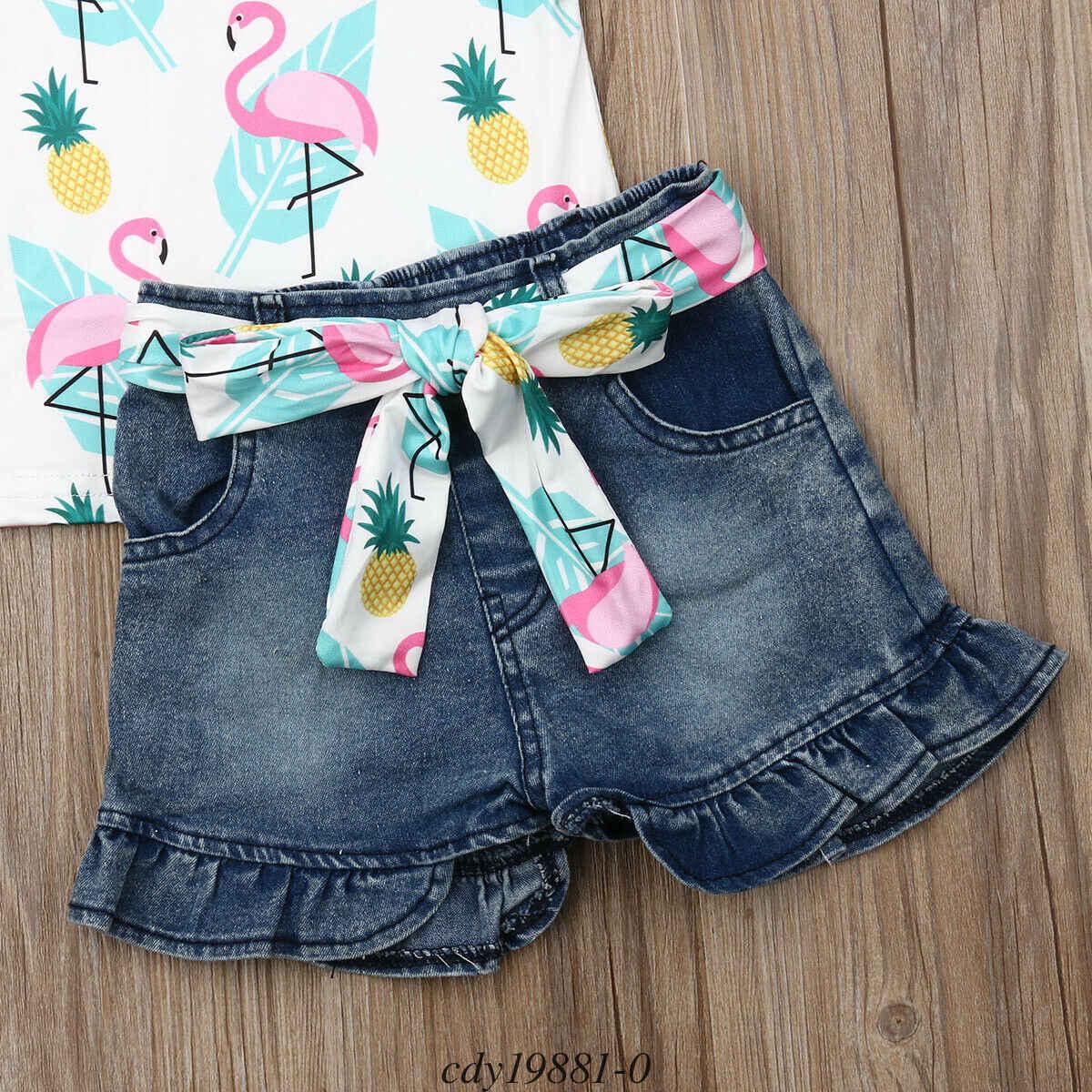Niños pequeños, niñas bebés, camisetas sin mangas con volantes de dibujos animados, camiseta, pantalones vaqueros, pantalones cortos, conjuntos de ropa