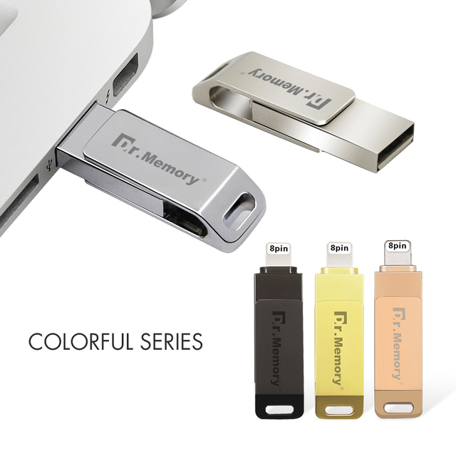 newest 5bc5d 913b5 2 in 1 OTG Metal USB Flash Drives 32GB for iphone 6s 7 8 Plus Pendrive 16GB  64GB Memory Stick Full Capacity I Flash Disk for IOS-in USB Flash Drives ...