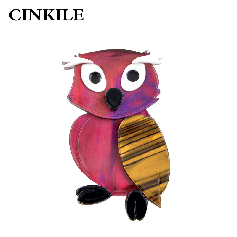 CINKILE Acrylic Owl Brooches for Women Acetate Fiber Animal Pin Bird Style Environmental Broches Fashion Jewelry 2018 New