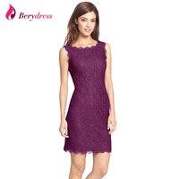 Berydress Fantastic Women Burgundy Lace Dress Sleeveless Full Zip Back Sexy Slimming Sheath Bodycon Short Midi