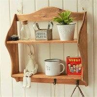 16 inch Solid Wood Storage Cabinet Craft Keys Hook Sundries Rack Wall Racks Bathroom Shelves Large 2 Layer Multifunctional Shelf|Storage Holders & Racks|Home & Garden -