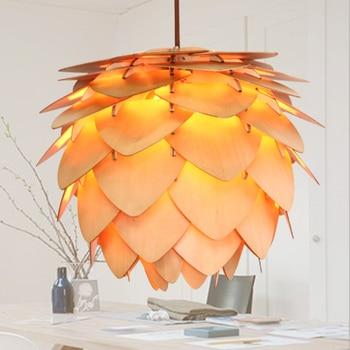 Pinecone chandelier Kitchen Dining room Restaurant Bar wooden Pendant lamp indoor house OAK Pinecone Hanging Lamp Fixtures