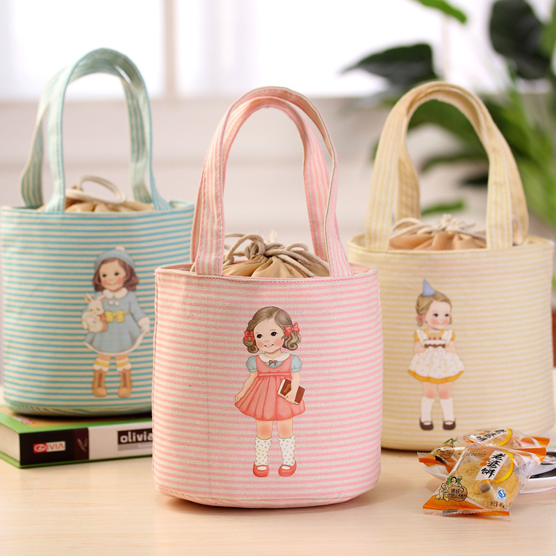Waterproof Japanese Insulation Thickened Doll Bento Bag Student Portable Lunch Bag  Thermal Grocery Tote  Ice Bag