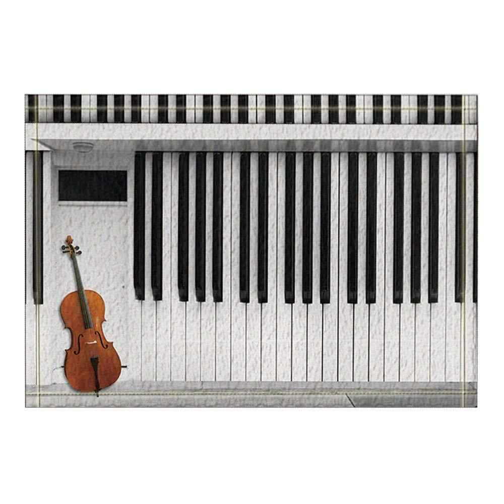 Musical Instruments Decor Guitar on Piano Bath Rugs Non-Slip Doormat Floor Entryways Outdoor Indoor Front Door Mat Kids