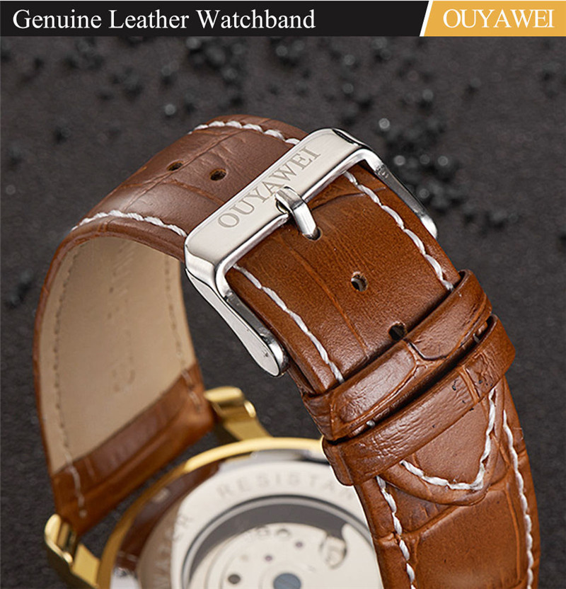 Mechanical Watch Mens Top Men\`s Automatic Mechanical Watches Wristwatch Leather watch relogio masculino (9)