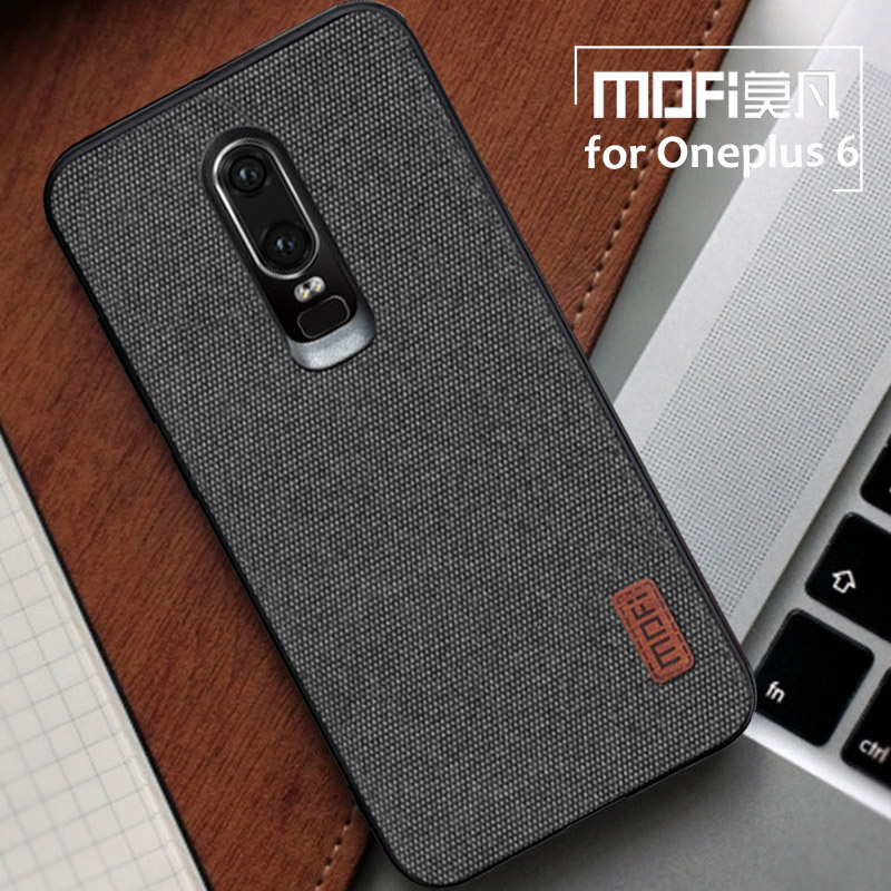 for Oneplus 6 Case Mofi Fabric Splice Back Cover Case Oneplus6 Silicone Capa 1+6 Soft Phone Case for One Plus 6 Business Coque