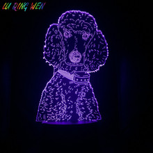 Teddy Dog Night Lamp 3d Illusion Kids Nightlight Room Decoration Light Usb Touch Sensor Led Poodle Present