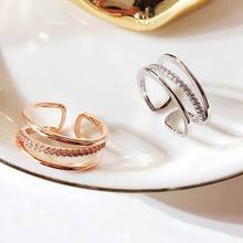 Korean Fashion Rings Women Rose Gold/Silver Color 3 Layers Open Ring Jewelry Wholesale Adjustable Bijoux