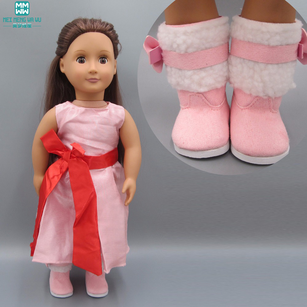 Fashion bow dress Pink snow boots shoes for dolls fit 43 cm Baby Born zapf doll Accessories цены