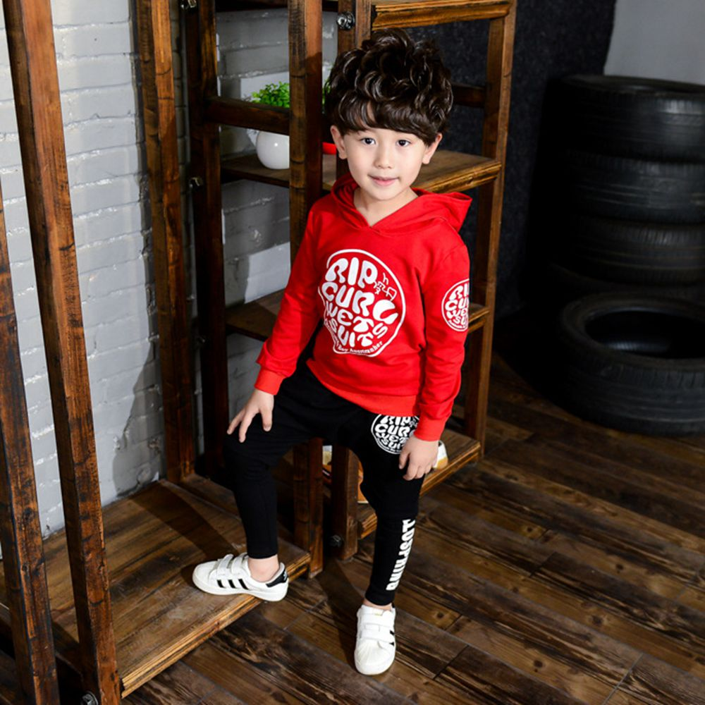 Boy long-sleeved sports suit 2017 spring and autumn new childrens hooded sweater baby long-sleeved autumn casual suit