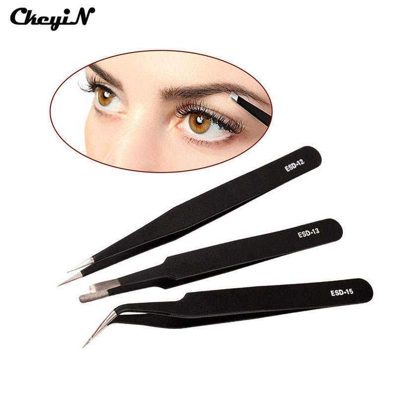 2pcs Professional Eyebrow Tweezers Stainless Eyelash Extension Nail Hair Removal Slant Tweezer Makeup Cosmetic Tools