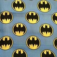 Wide 140cm Blue Cartoon Batman Logo Print Cotton Fabric Satin Fabric Quilting Cloth Patchwork Sewing Material