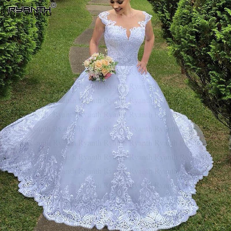 RW07 Vestidos De Novia Lace Ball Gown White Vintage Wedding Dresses Illusion Back Buttons Wedding Gowns Bridal Dresses